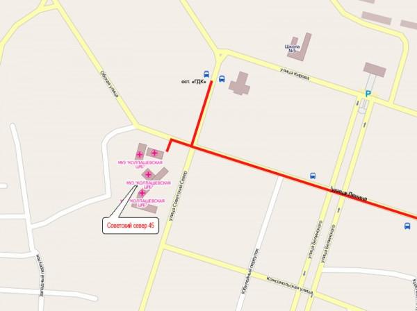Схема проезда в МБУЗ Колпашевская ЦРБ